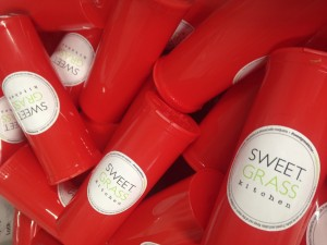 Sweet Grass Kitchen's distinct red recreational containers